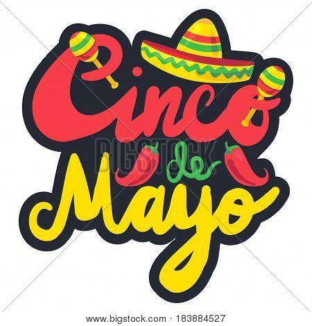 Cinco De Mayo Festival Label with chili and sombrero maraca. Festival Poster. Vector