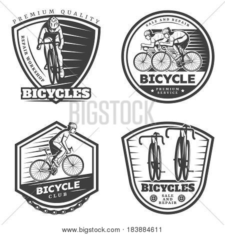 Vintage sport cycling emblems set of different shapes with cyclists riding bicycles isolated vector illustration