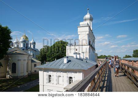 VELIKY NOVGOROD, RUSSIA - JULY 04, 2015: Summer walk along the walls of the Kremlin of Veliky Novgorod
