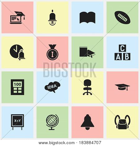 Set Of 16 Editable Graduation Icons. Includes Symbols Such As Dictionary, Distance Learning, Graduation Hat And More. Can Be Used For Web, Mobile, UI And Infographic Design.