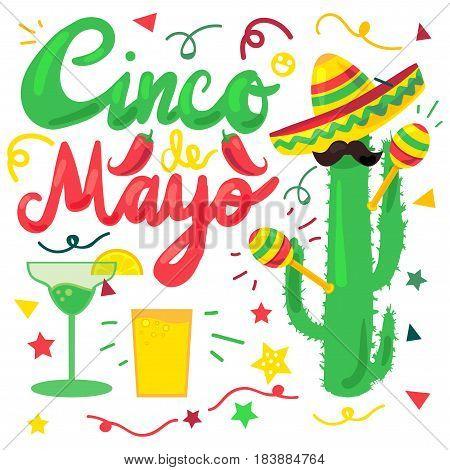Cinco De Mayo Festival Set from chili confetti cactus mustache and margarita sombrero and maraca. Festival Poster. Vector