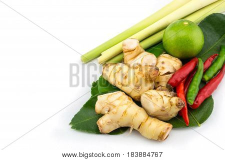 Closeup of Thai ingredients galangal lime lemongrasslemon chilli and lime leaves for tom yum food Thai food popular