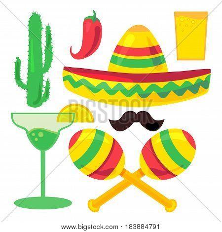 Cinco De Mayo Festival Set from chili confetti cactus mustache and margarita sombrero and maraca. Vector