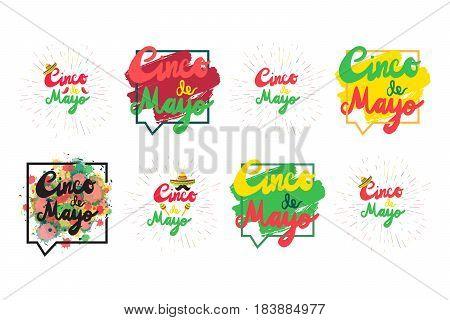 Cinco De Mayo Festival Flyers with mustache and sombrero maraca. Festival Poster. Vector