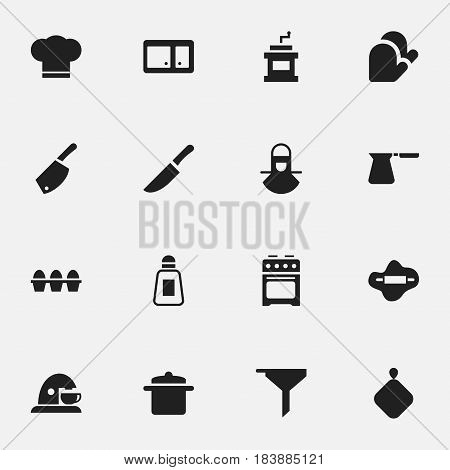 Set Of 16 Editable Food Icons. Includes Symbols Such As Knife, Rocker Blade, Kitchen Glove And More. Can Be Used For Web, Mobile, UI And Infographic Design.