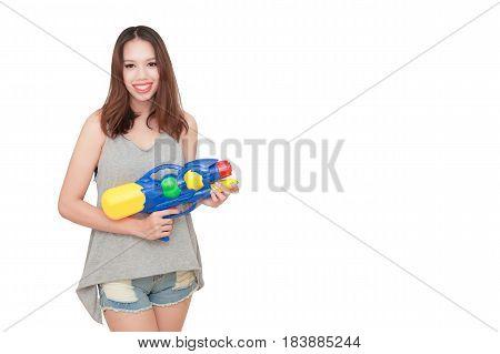 Girl Holding A Water Gun