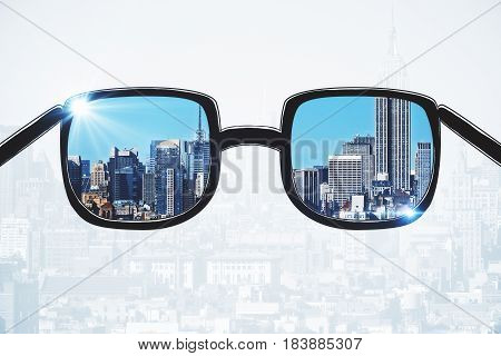 Close up of spectacles with city view. Success concept. 3D Rendering
