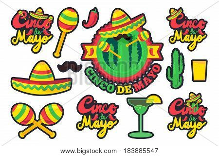Cinco De Mayo Festival Stickers Set from chili confetti cactus mustache and margarita sombrero and maraca. Festival Poster. Vector