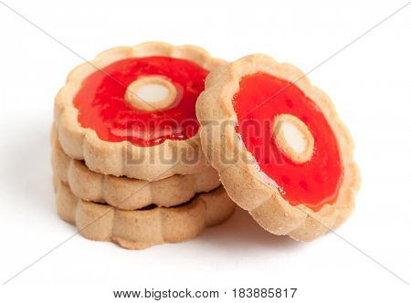 Cookies with red jam isolated on white