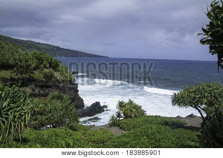 View of Maui Coast, Palikea Stream, Hana highway, Maui, Hawaii, USA
