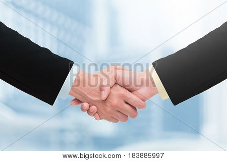 Business handshake and business people concepts. Concept of success