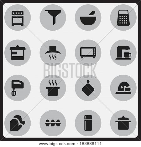 Set Of 16 Editable Cooking Icons. Includes Symbols Such As Drink Maker, Kitchen Glove, Stove And More. Can Be Used For Web, Mobile, UI And Infographic Design.