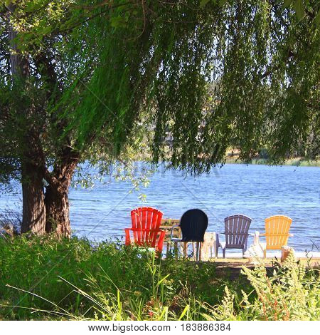 Colored chairs on deck near beach in front of lake with large willow tree for shade