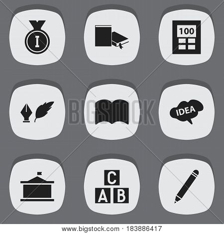 Set Of 9 Editable Science Icons. Includes Symbols Such As Dictionary, Calculator, Univercity And More. Can Be Used For Web, Mobile, UI And Infographic Design.