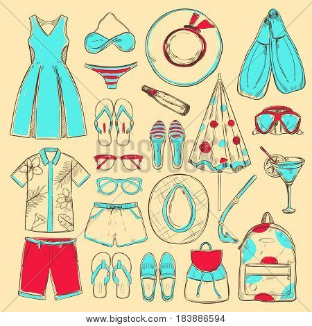 Doodle colored summer beach icons collection with male and female clothes accessories cocktail diving equipment isolated vector illustration