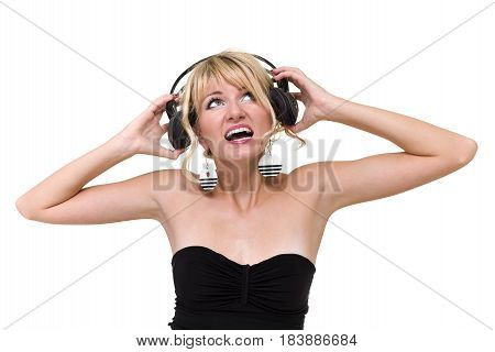 photo of attractive woman dancer with headphones, isolated on white background