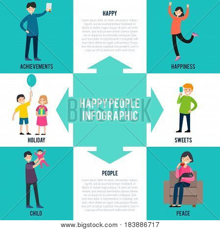 Cheerful characters infographic concept with different situations and reasons of people happiness vector illustration