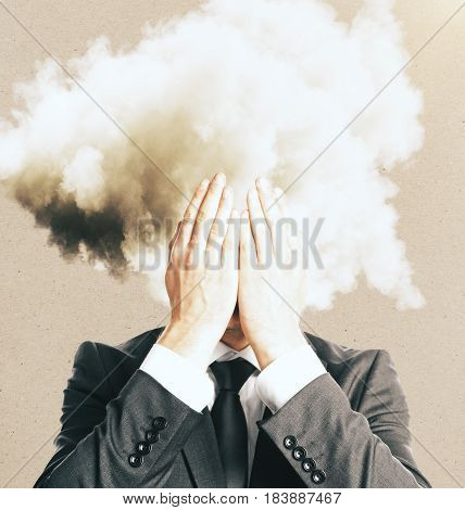 Stressed businessman with cloud instead head, close up