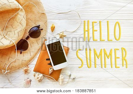 Hello Summer Text, Travel Vacation Concept Flat Lay, Space For Text.  Passport Plane Hat  Phone With