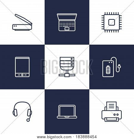 Set Of 9 Notebook Outline Icons Set.Collection Of Notebook, Headphone, Printer And Other Elements.