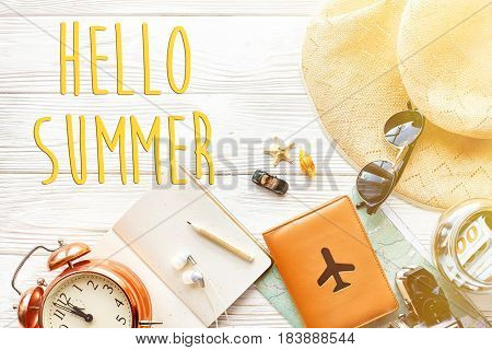 Hello Summer Text, Time To Travel Concept, Space For Text. Map Camera Passport Money Phone Sunglasse