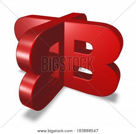 uppercase letter b on white background - 3d rendering