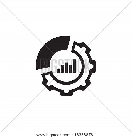 Set Up Analytics Icon. Business and Finance. Isolated Illustration. Circle Diagram with Gear.