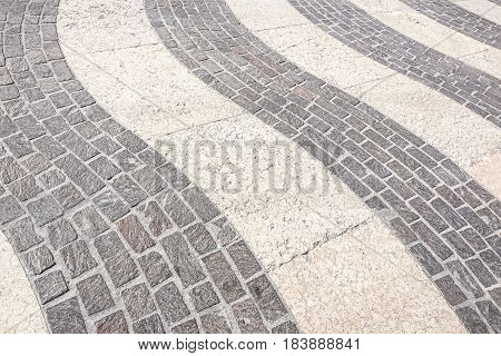 Perspective View of Grunge Cracked White Marble Brick Stone on The Ground for Street Road. Sidewalk, Driveway, Pavers, Pavement in Vintage Design Flooring Square Pattern Texture Background .