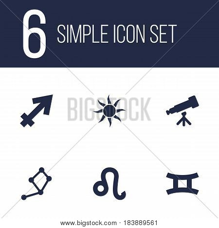 Set Of 6 Galaxy Icons Set.Collection Of Solar, Lion, Archer And Other Elements.