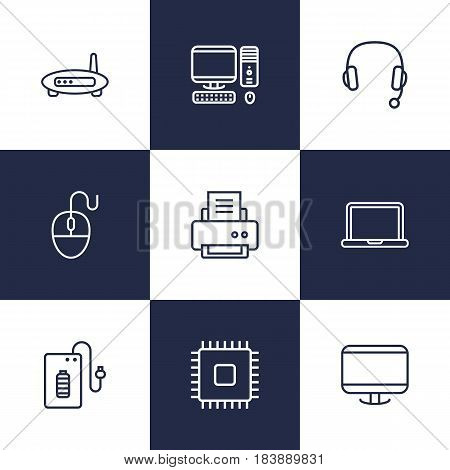 Set Of 9 Notebook Outline Icons Set.Collection Of PC, Computer Mouse, Cpu And Other Elements.