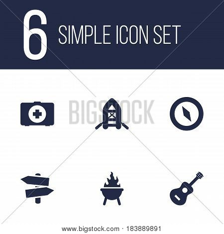 Set Of 6 Camping Icons Set.Collection Of Bbq, First Aid Box, Inflatable Raft And Other Elements.