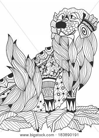 Labrador Retriever in the leaves coloring book for adults vector illustration. Anti-stress coloring for adult dog. Zentangle style nature pet. Black and white lines symbol guard. Lace pattern friend.