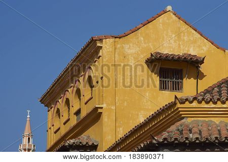 Historic Spanish colonial buildings surrounding Plaza De La Paz in the Cartagena de Indias, Colombia