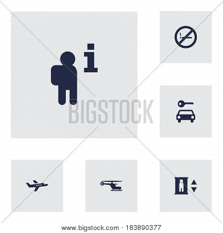 Set Of 6 Aircraft Icons Set.Collection Of Automobile, Forbidden, Aircraft And Other Elements.
