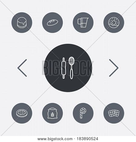 Set Of 9  Outline Icons Set.Collection Of Donuts, Flour, Rolling Pin And Other Elements.