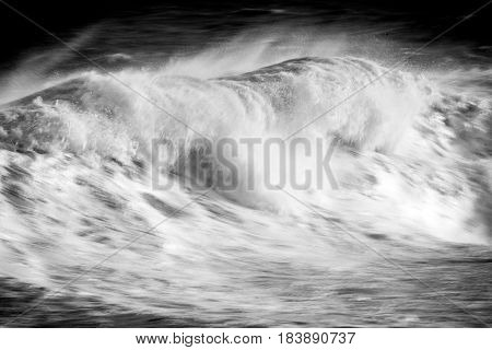 Rough Sea In Black And White.