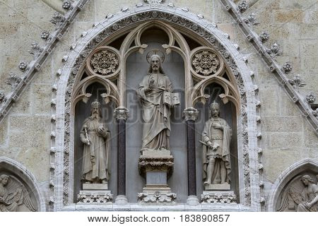 ZAGREB, CROATIA - APRIL 17: Jesus Christ surrounded by saints Stephen the King and St. Ladislaus, portal of the cathedral in Zagreb, Croatia on April 17, 2015.
