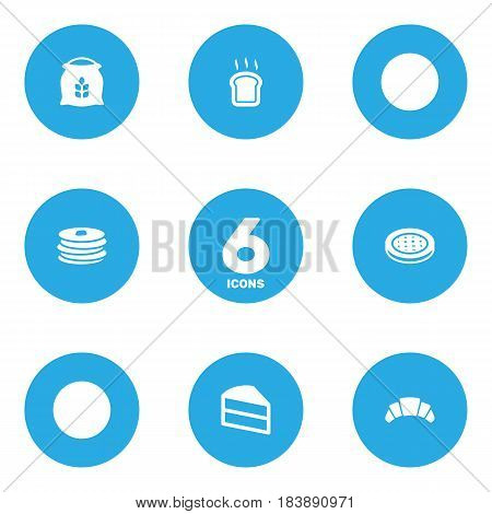 Set Of 6 Bakery Icons Set.Collection Of Cake, Pastry, Sack And Other Elements.
