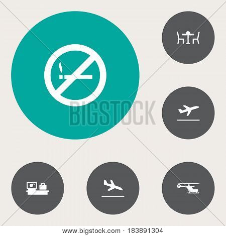 Set Of 6 Airplane Icons Set.Collection Of Forbidden, Luggage Check, Leaving And Other Elements.