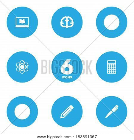 Set Of 6 Science Icons Set.Collection Of Ink, Drawing Tool, Molecule And Other Elements.
