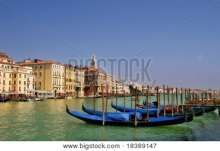 Gondolas on famous Grand Canal in Venice, Italy.