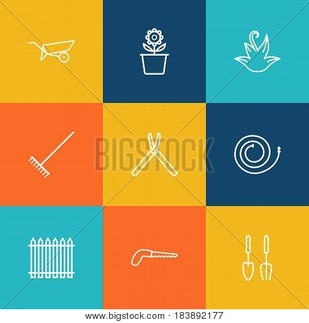 Set Of 9 Farm Outline Icons Set.Collection Of Harrow, Firehose, Barrow And Other Elements.