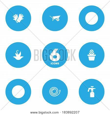 Set Of 6 Horticulture Icons Set.Collection Of Wheelbarrow, Garden Hose, Flowerpot And Other Elements.