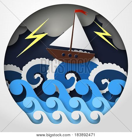 Vector illustration paper abstract concept art of ship against sea and thunderbolt in storm.