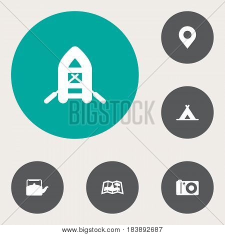 Set Of 6 Camping Icons Set.Collection Of Location, Kettle, Photo Camera And Other Elements.