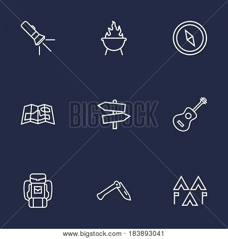 Set Of 9 Outdoor Outline Icons Set.Collection Of Guitar, Guidepost, Compass And Other Elements.