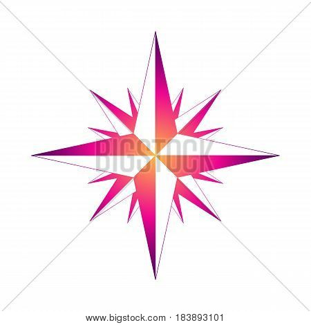 Icon WINDROSE. Vector illustration. bright gradient outline on a white background.