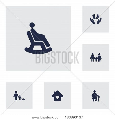 Set Of 6 People Icons Set.Collection Of Look After, Father With Son, Relatives And Other Elements.
