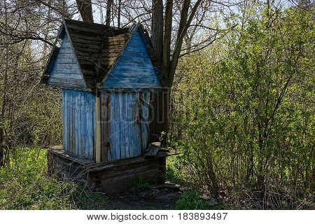 old blue wooden well in the yard amongst the bushes and trees