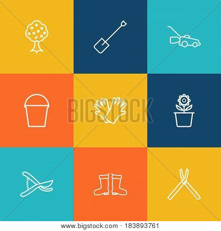 Set Of 9 Household Outline Icons Set.Collection Of Safer Of Hand , Pail, Grass-Cutter Elements.